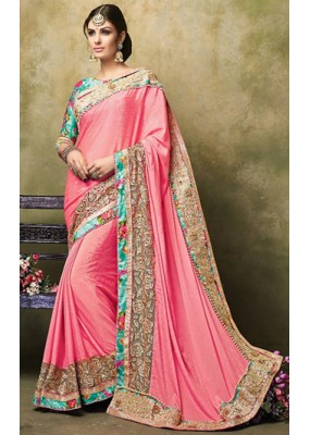 Ethnic Wear Pink & Green Satin Saree  - 73260