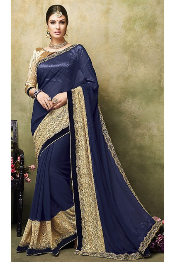 Ethnic Wear Navy Blue & Gold Georgette Saree  - 73261