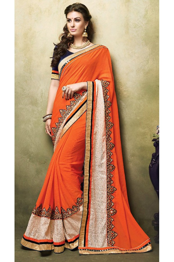 Party Wear Orange & Navy Blue Chiffon Saree  - 73262