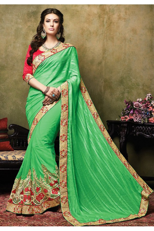 Traditional Green & Red Jacquard Saree  - 73264