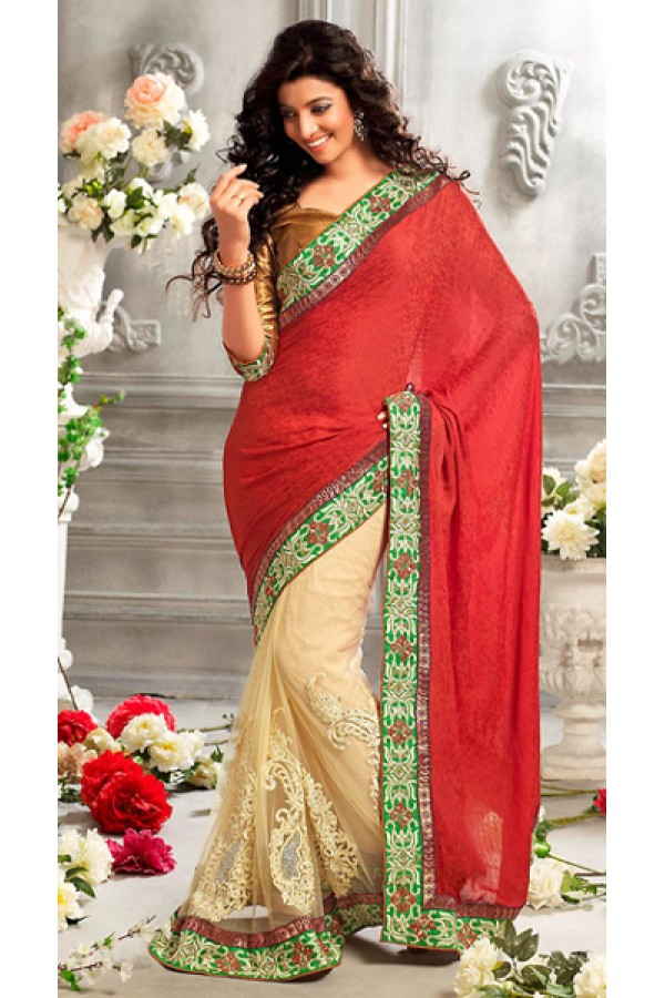 Ethnic Wear Red & Beige Jacquard Saree  - 73286