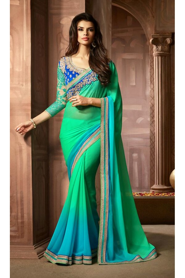 Party Wear Green & Blue Georgette Saree  - 73301