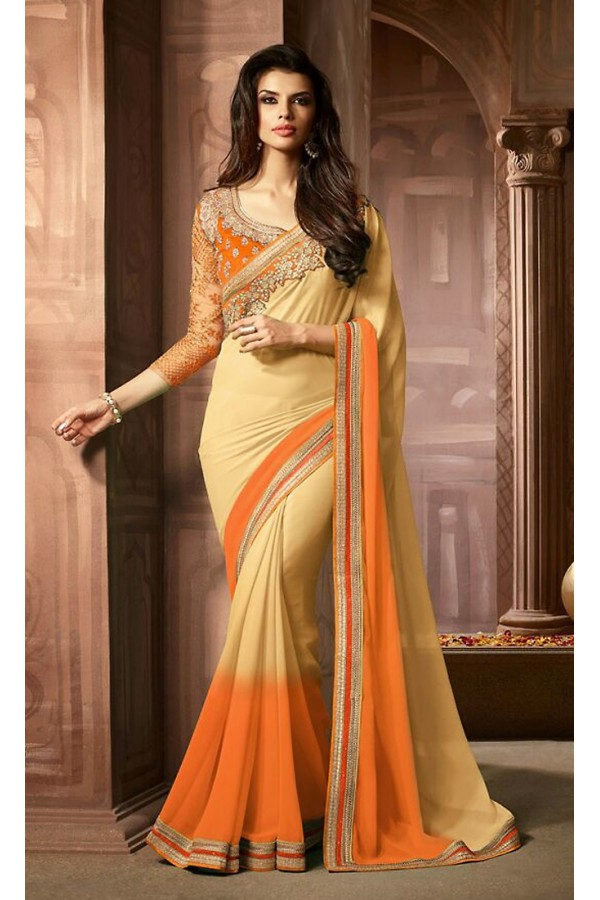 Party Wear Beige & Orange Georgette Saree  - 73304