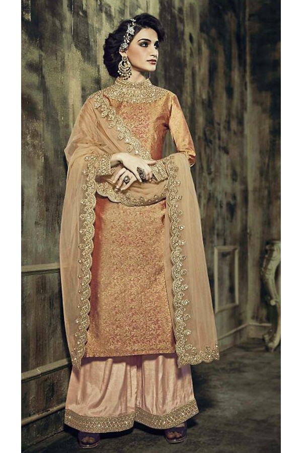 Party Wear Beige Jacquard Palazzo Suit - 73342