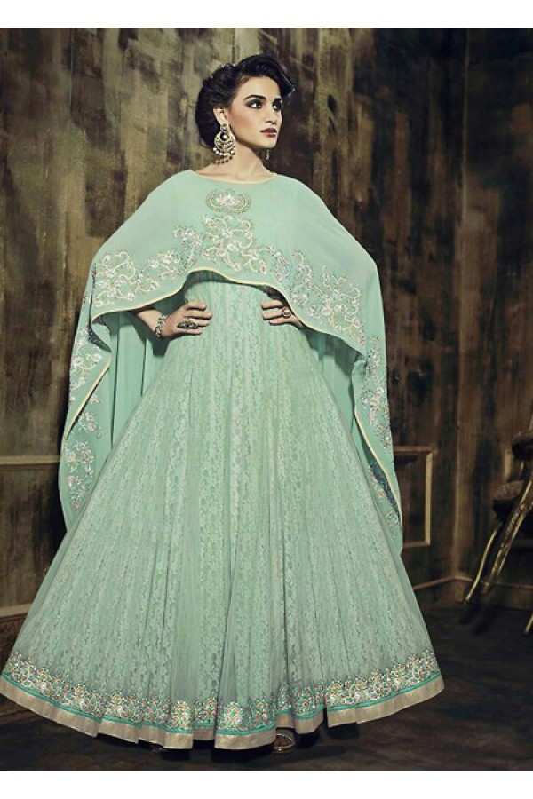 Ethnic Wear Green Georgette Anarkali Suit - 73347