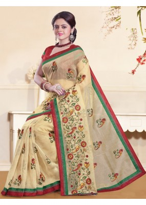 Ethnic Wear  Beige & Red Super Net Saree  - 73353