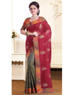 Casual Wear  Red & Grey Super Net Saree  - 73354