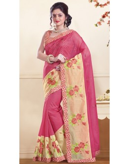 Ethnic Wear Pink Super Net Saree  - 73356