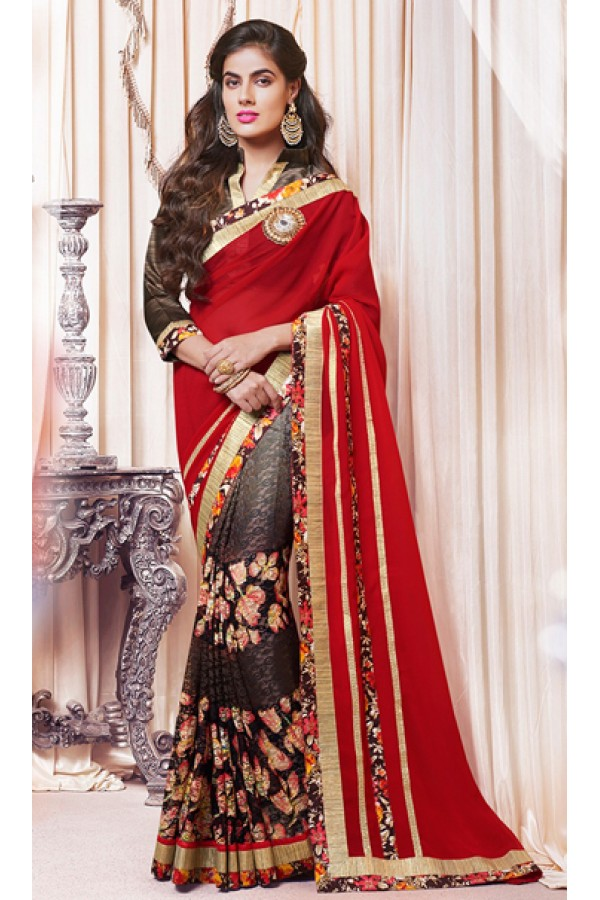 Party Wear Red & Brown Georgette Saree  - 73359