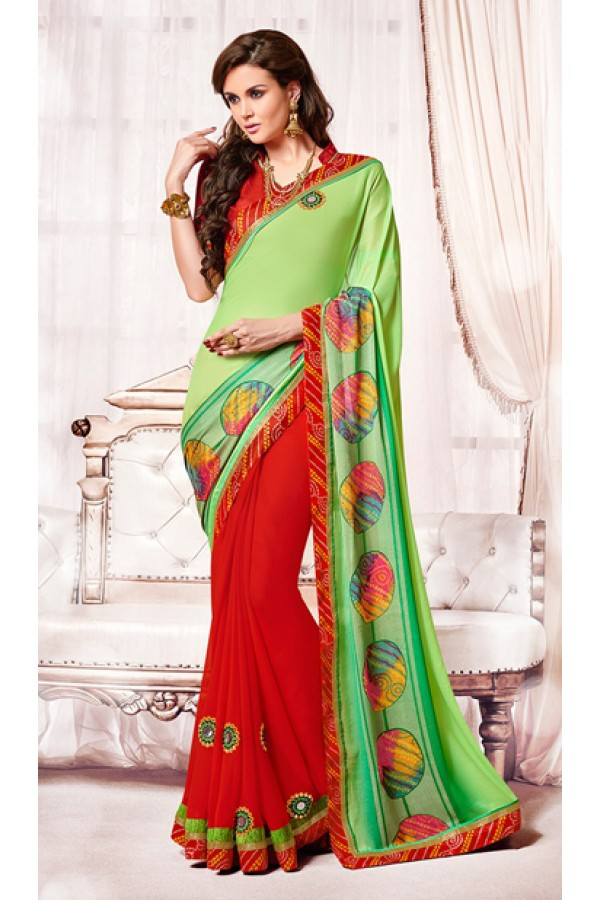 Party Wear Green & Red Chiffon Saree  - 73360