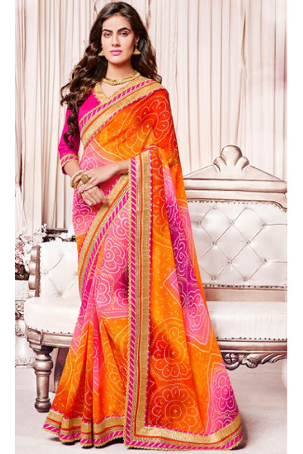 Ethnic Wear Orange & Pink Georgette Saree  - 73363