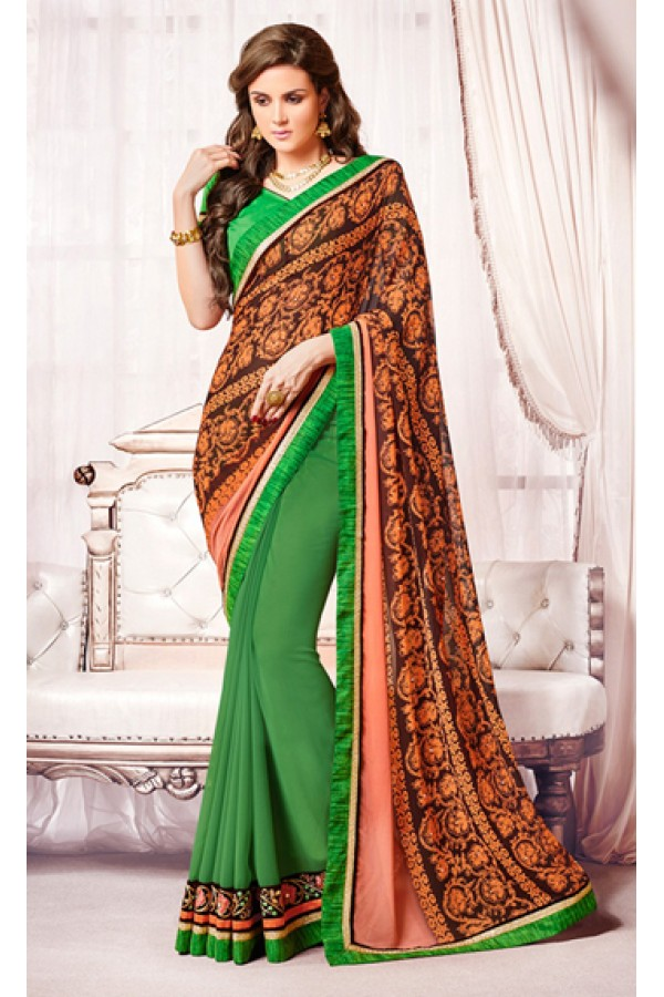 Casual Wear Orange & Green Georgette Saree  - 73368