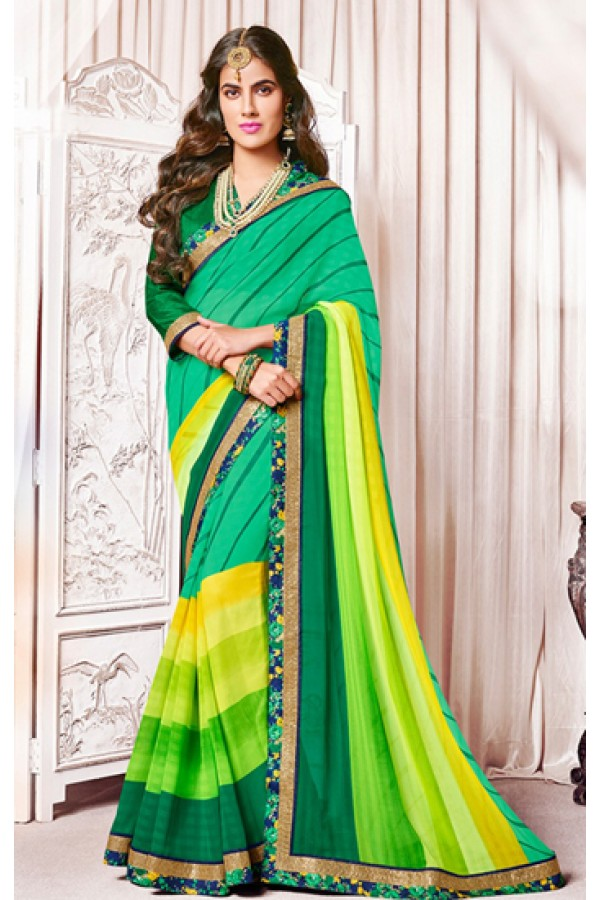 Party Wear Green Georgette Saree  - 73372