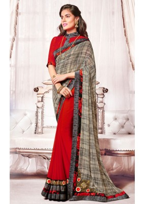 Casual Wear Beige & Red Georgette Saree  - 73376