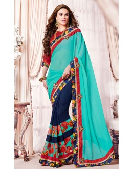 Casual Wear Turquoise & Blue Georgette Saree  - 73378