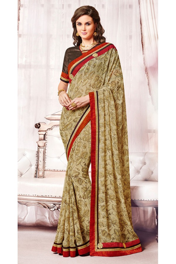 Casual Wear Tan Brown Georgette Saree  - 73379