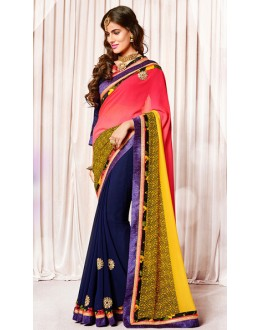 Casual Wear Pink & Navy Blue Georgette Saree  - 73380