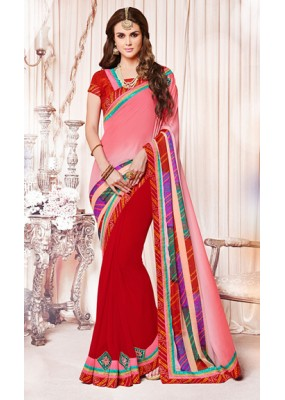 Casual Wear Pink & Red Georgette Saree  - 73382