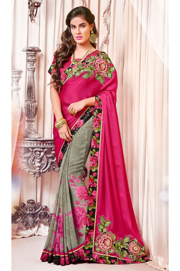 Party Wear Pink & Grey Georgette Saree  - 73384