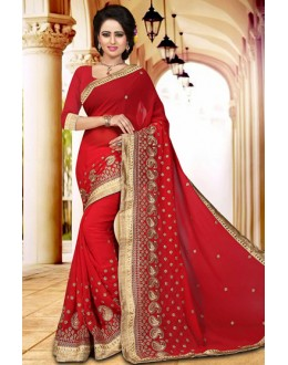Traditional Red Georgette Embroidered Saree  - 73412