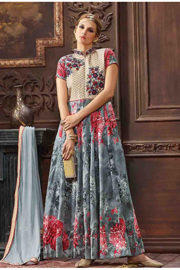 Party Wear Grey Banarasi Silk Anarkali Suit - 73481