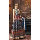 Ethnic Wear Navy Blue Banarasi Silk Anarkali Suit - 73483