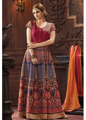 Ethnic Wear Multicolour Banarasi Silk Anarkali Suit - 73484