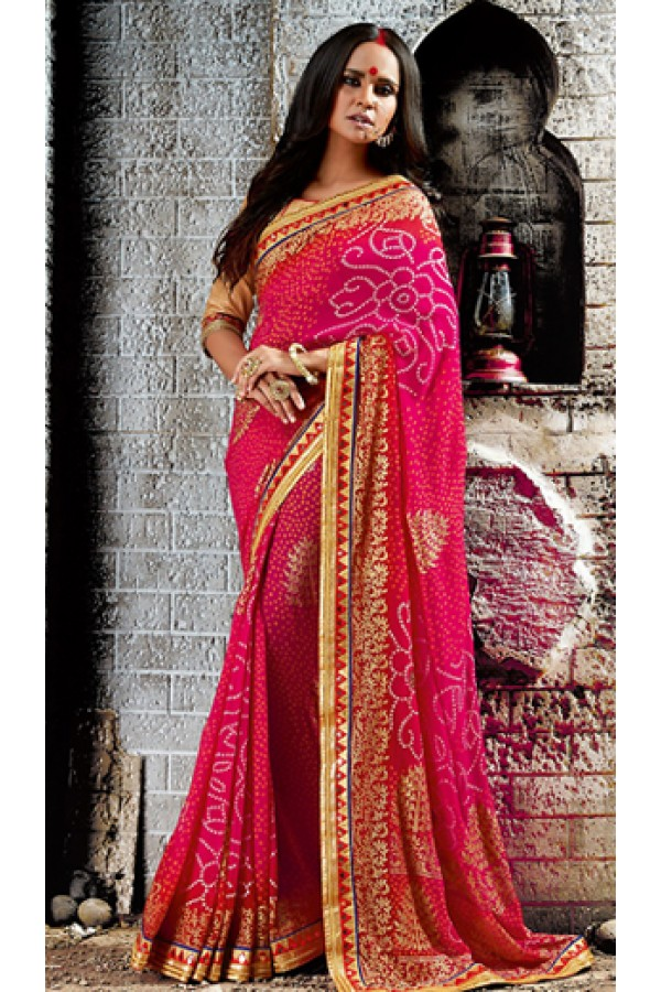 Party Wear Pink & Beige Georgette Saree  - 73522