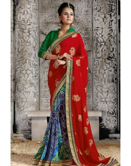 Casual Wear Multicolour Georgette Saree  - 73524