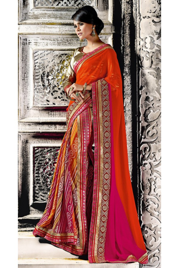 Casual Wear Multicolour Georgette Saree  - 73525