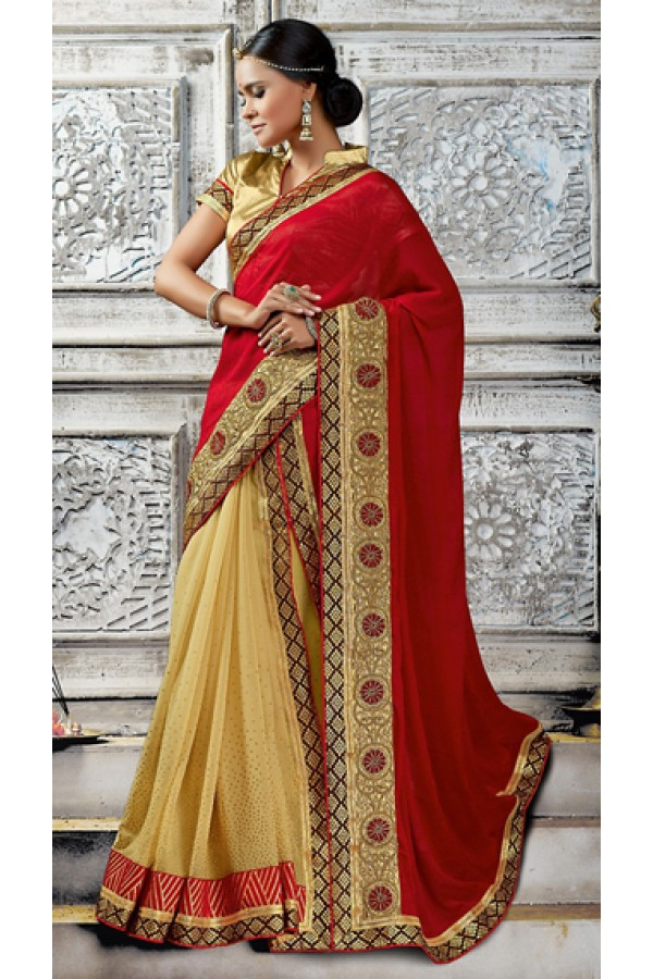 Party Wear Red & Beige Jacquard Saree  - 73526