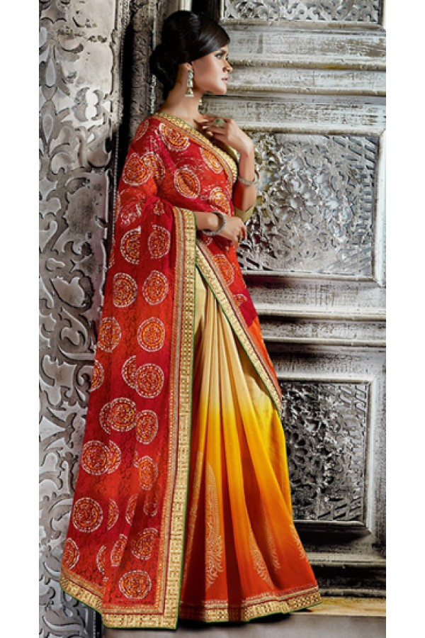 Ethnic Wear Red & Beige Brasso Saree  - 73528