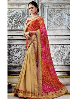 Casual Wear Multicolour Brasso Saree  - 73531