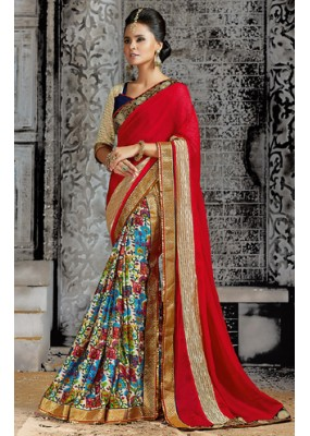Casual Wear Multicolour Chiffon Saree  - 73532