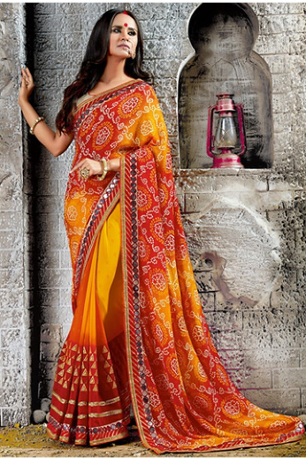 Ethnic Wear Multicolour Georgette Saree  - 73535