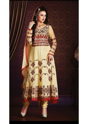 Party Wear Cream Georgette Anarkali Suit- 73542