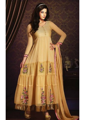 Party Wear Beige Georgette Anarkali Suit- 73544
