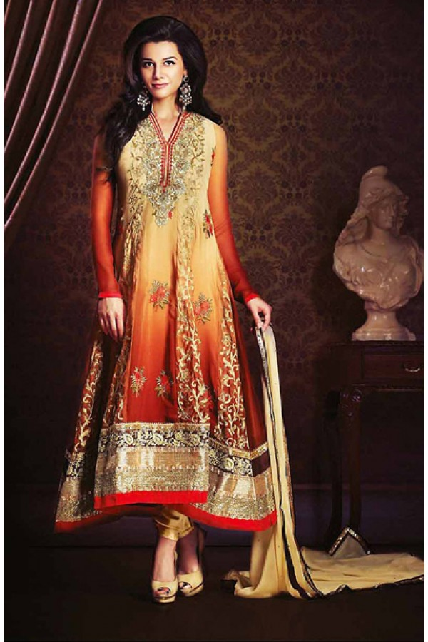 Party Wear Cream & Red Georgette Anarkali Suit- 73547