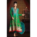Party Wear Green & Blue Georgette Anarkali Suit- 73548