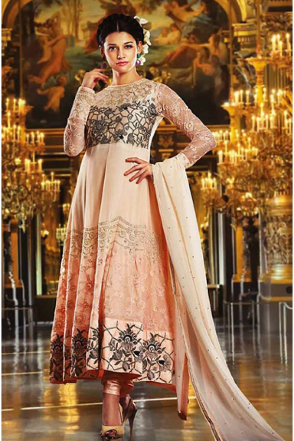 Ethnic Wear Pink Georgette Anarkali Suit- 73550