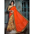 Ethnic Wear Orange & Brown Brasso Saree  - 73551