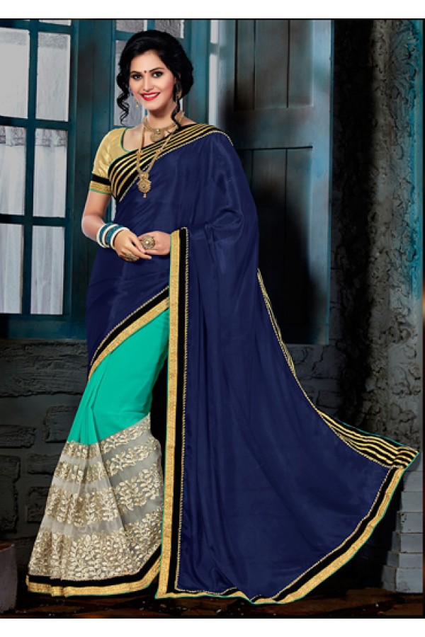 Ethnic Wear Navy Blue & Turquoise Silk Saree  - 73552