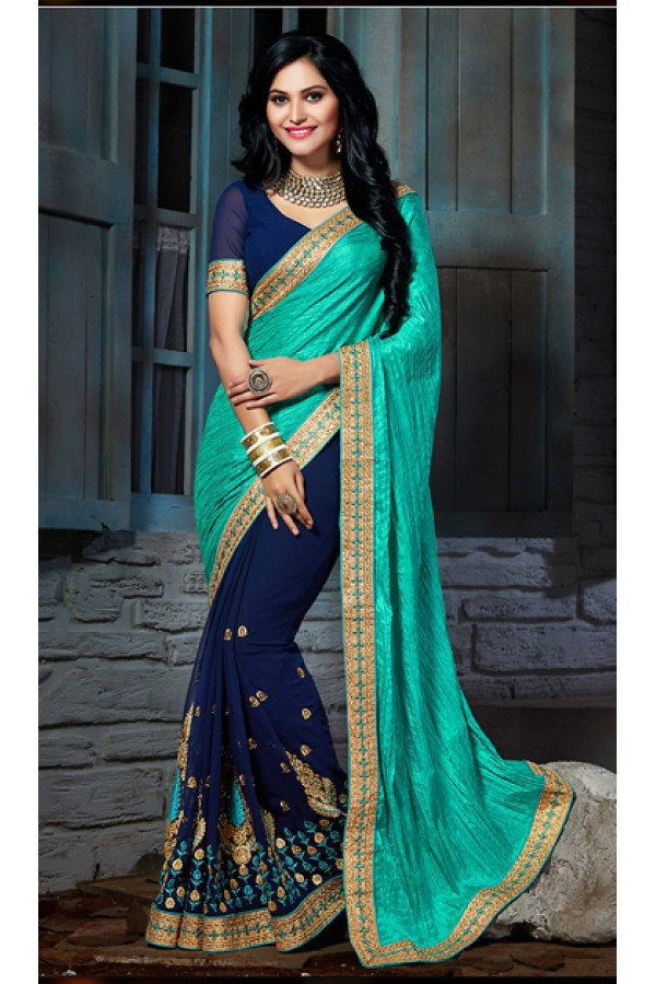 Party Wear Turquoise & Navy Blue Silk Saree  - 73554