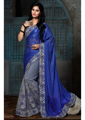 Ethnic Wear Blue & Grey Lycra Saree  - 73561