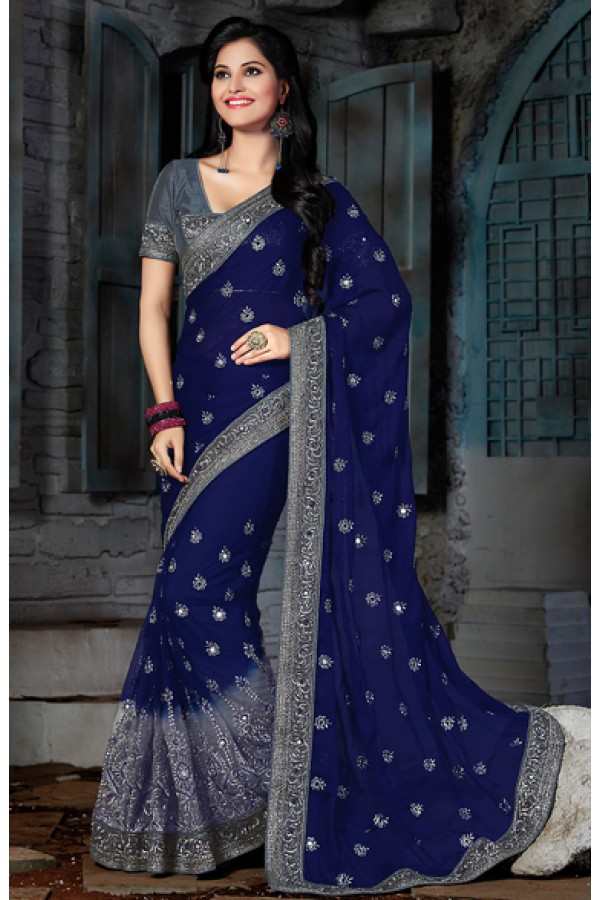 Party Wear Blue & Grey Chiffon Saree  - 73564