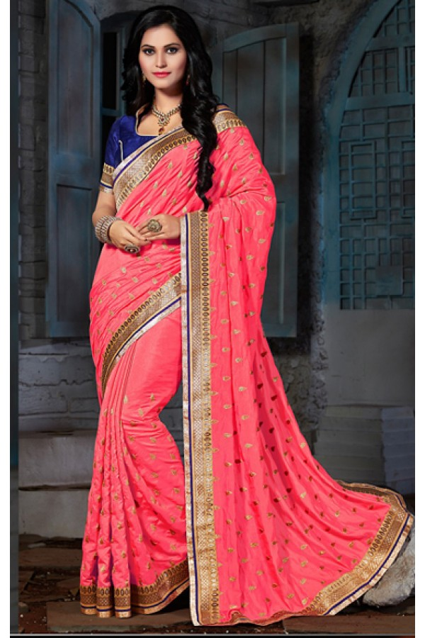 Ethnic Wear Pink & Blue Pasmina Silk Saree  - 73565