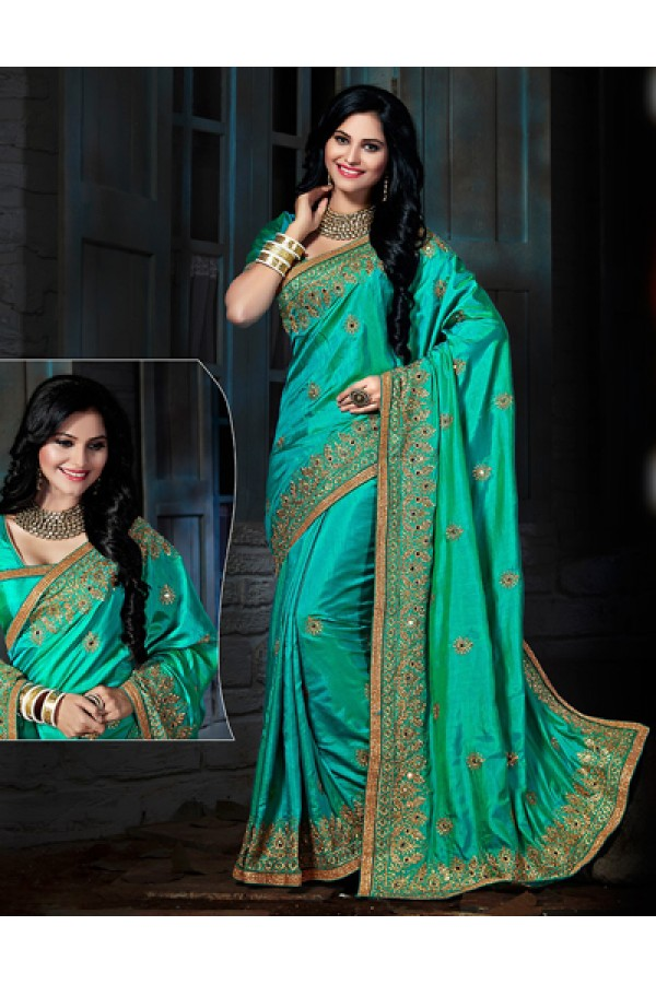 Designer Turquoise Art Silk Embroidered Saree  - 73566