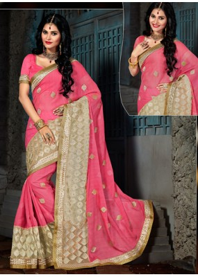 Ethnic Wear Pink Chiffon Embroidered Saree  - 73567