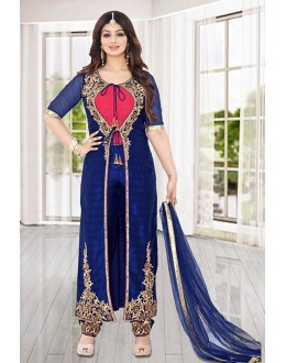 Party Wear Navy Blue Bhagalpuri Silk Salwar Kameez - 73587