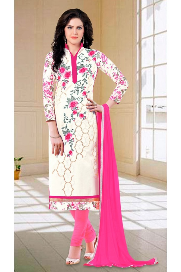 Party Wear Off White & Pink Cotton Salwar Suit - 73591